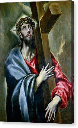 Christ Clasping The Cross Canvas Print by El Greco