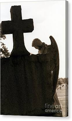 Christian Art - Angel At Grave With Large Cross Canvas Print by Kathy Fornal