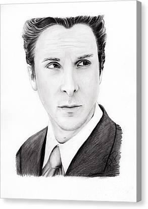 Christian Bale Canvas Print by Rosalinda Markle