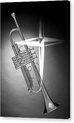 Christian Cross On Trumpet Canvas Print by M K  Miller