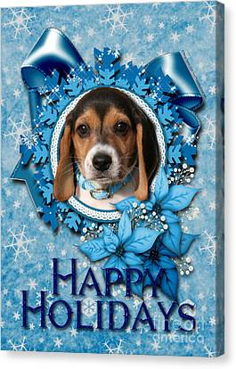 Christmas - Blue Snowflakes Beagle Puppy Canvas Print by Renae Laughner