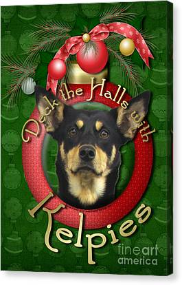 Christmas - Deck The Halls With Kelpies Canvas Print by Renae Laughner