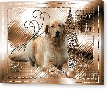 Christmas - Silent Night - Golden Retriever Canvas Print by Renae Laughner
