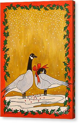 Christmas Geese Canvas Print by Susan Greenwood Lindsay