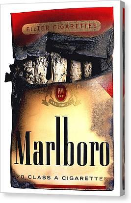 Cigarette Skeleton Canvas Print by Michael Kraus
