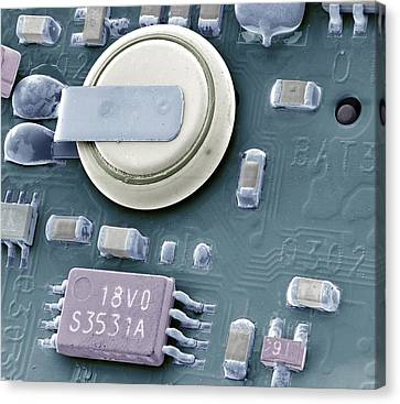 Circuit Board Battery, Sem Canvas Print by Steve Gschmeissner