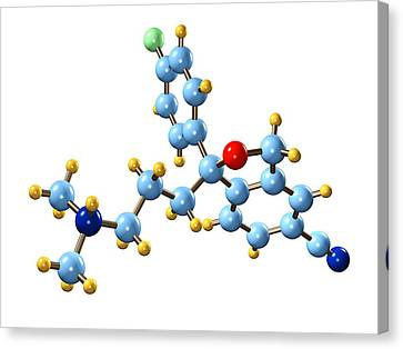 Citalopram Antidepressant Molecule Canvas Print by Dr Mark J. Winter