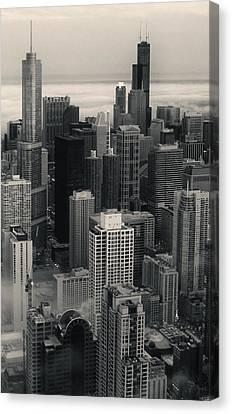 City At Dusk In Monotone Canvas Print by Sheryl Thomas