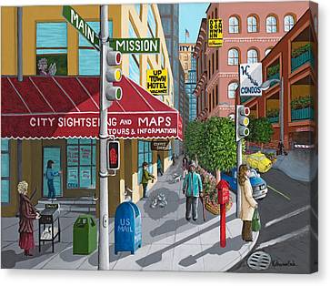 City Corner Canvas Print by Katherine Young-Beck