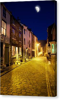 City Street At Night, Staithes Canvas Print by John Short
