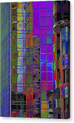 City Windows Abstract Pop Art Colors Canvas Print by Phyllis Denton