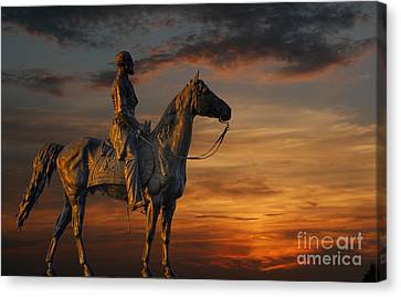 Civil War Battlefield Sunset Canvas Print by Randy Steele