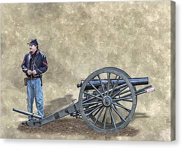 Civil War Union Artillery Corporal With Cannon Canvas Print by Randy Steele