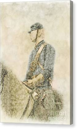 Civil War Union Cavalry Trooper Canvas Print by Randy Steele