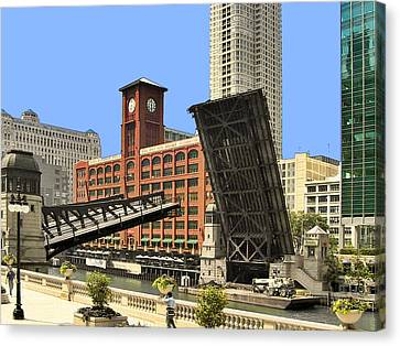 Clark Street Bridge Chicago - A Contrast In Time Canvas Print by Christine Till