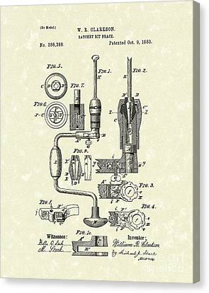 Clarkson Bit Brace 1883 Patent Art  Canvas Print by Prior Art Design