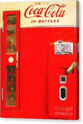 Classic Coke Dispenser Machine . Type 2 Canvas Print by Wingsdomain Art and Photography