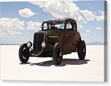Classic Hotrod On Utah Salt Flats. Canvas Print by Paul Edmondson