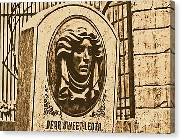 Classic Leota Moving Eyes Headstone Haunted Mansion Magic Kingdom Walt Disney World Prints Rustic Canvas Print by Shawn O'Brien