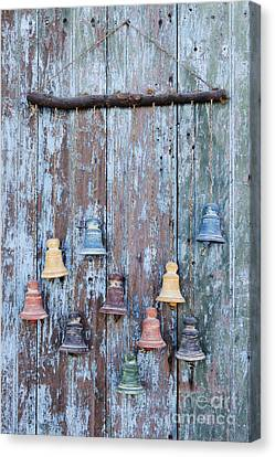 Clay Bells On A Weathered Door Canvas Print by Jeremy Woodhouse