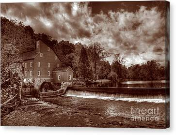 Clinton Red Mill House Sepia Canvas Print by Lee Dos Santos