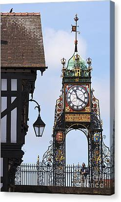 Clock In Chester Canvas Print by Andrew  Michael