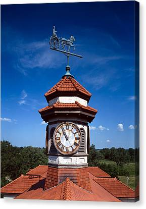 Clock Tower And Weathervane, Longview Canvas Print by Everett