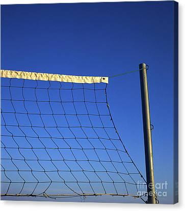 Close-up Of A Volleyball Net Abandoned. Canvas Print by Bernard Jaubert