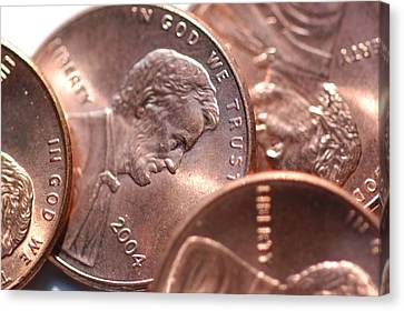 Close View Of Several Copper Pennies Canvas Print by Stacy Gold