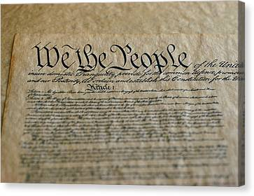 Close View Of The Us Constitution Canvas Print by Kenneth Garrett
