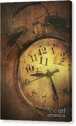 Closeup Of Old Clock Frozen In Ice Canvas Print by Sandra Cunningham