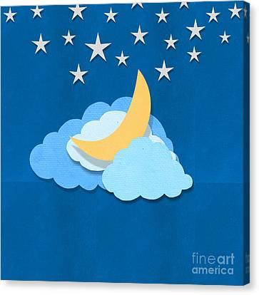 Cloud Moon And Stars Design Canvas Print by Setsiri Silapasuwanchai