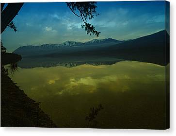 Clouds Trying To Dance In Still Water Canvas Print by Jeff Swan