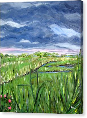 Cloudy Marsh Canvas Print by Clara Sue Beym