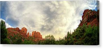 Cloudy Skies Over Cathedral Rock Canvas Print by David Sunfellow