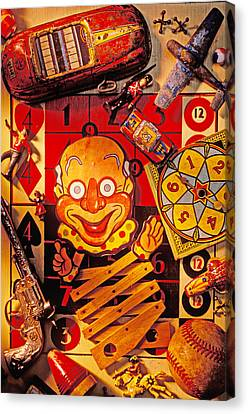 Clown Toy And Old Playthings Canvas Print by Garry Gay