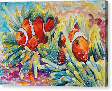 Clownfish In Their Paradise Canvas Print by Barbara Pommerenke