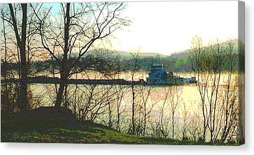 Coal Barge In Ohio River Mist Canvas Print by Padre Art