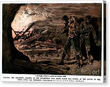 Coal Mine Explosion, 1884 Canvas Print by Granger