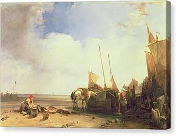 Coastal Scene In Picardy Canvas Print by Richard Parkes Bonington