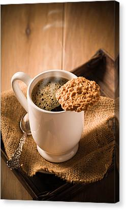 Coffee And Biscuit Canvas Print by Amanda Elwell
