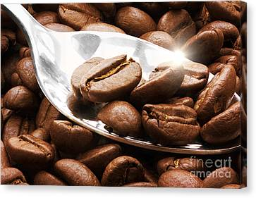 Coffee Beans On A Spoon  Canvas Print by Simon Bratt Photography LRPS