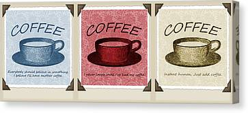 Coffee Flowers Scrapbook Triptych 1  Canvas Print by Angelina Vick