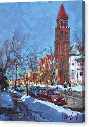Cold Morning In Elmwood Ave  Canvas Print by Ylli Haruni