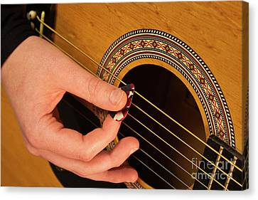 Color Guitar Picking Canvas Print by Michael Waters