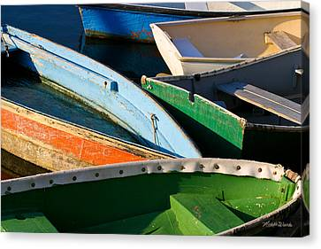 Colorful Dinghies In Rockport Massachusetts Canvas Print by Michelle Wiarda