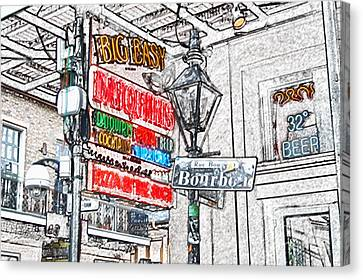 Colorful Neon Sign On Bourbon Street Corner French Quarter New Orleans Colored Pencil Digital Art Canvas Print by Shawn O'Brien