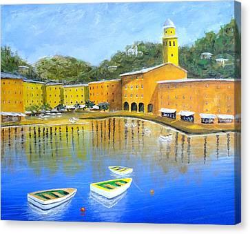 Colorful Reflections Of Portofino Canvas Print by Larry Cirigliano