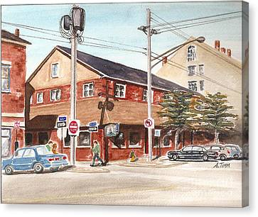 Commercial Street Pub Canvas Print by Andrea Timm