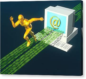 Computer Artwork Of E-mail As A Sprinter Canvas Print by Laguna Design